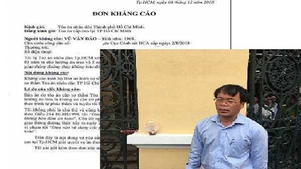 Vụ chìm ca nô ở biển Cần Giờ: Ông Vũ Văn Đảo viết đơn kháng cáo