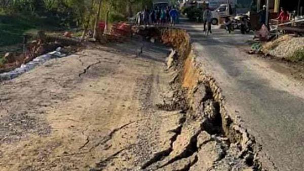Cà Mau: Thêm 20m tuyến đường ô tô về trung tâm xã Trần Hợi bị sụt lún