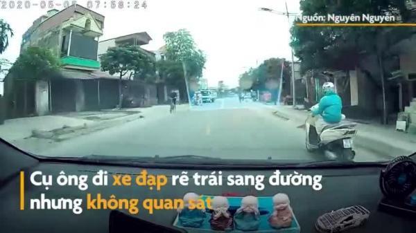 Hà Nam: Cụ ông đi xe đạp sang đường không quan sát suýt bị ô tô đâm