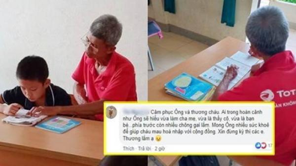 Cảm động câu chuyện phía sau bức ảnh cụ ông 70 tuổi hàng ngày đi học cùng cháu
