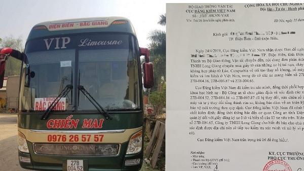 Điện Biên: Thu hồi phù hiệu 3 xe khách của Công ty Long Giang sửa số khung số máy