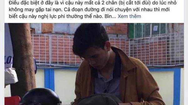 """Chở sinh viên mất 2 chân quê Trà Vinh không lấy tiền, anh xe ôm """"ở hiền gặp lành"""""""