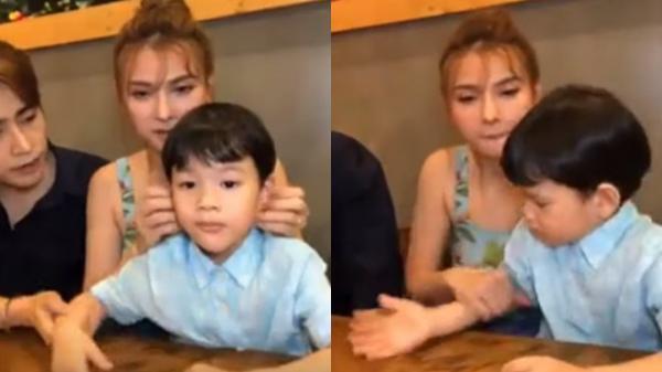 Chồng trẻ của ca sĩ Thu Thủy bị dân mạng soi lén cấu tay con riêng của vợ ngay trên sóng livestream