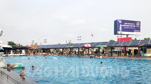 Bể bơi đầu tiên ở Hải Dương dùng điện mặt trời để vận hành thiết bị lọc nước