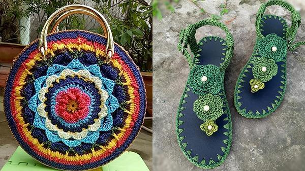 Chỉ với cây móc và cuộn chỉ, người phụ nữ tại Trà Vinh tạo ra những đôi giày, chiếc túi xách vô cùng tinh tế