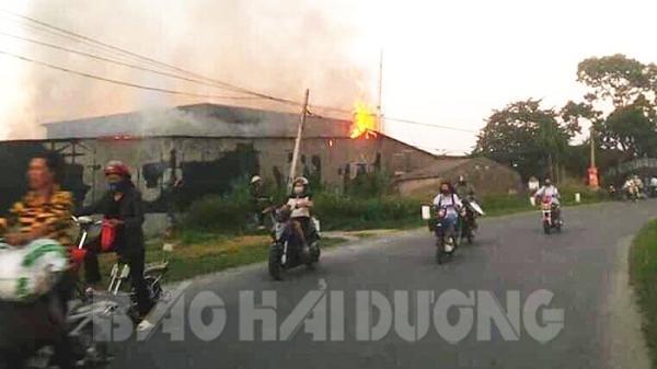 Cháy xưởng sản xuất nấm rộng 300 m2 tại xã Quang Phục, Hải Dương