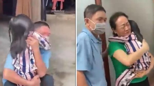 Ông bà nội bật khóc nức nở khi cháu gái trở về nhà sau 8 tháng xa cách vì dịch