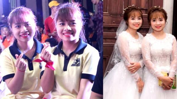 Dân mạng Việt lo sợ cho cặp chị em sinh đôi trẻ đẹp làm cùng công ty, cưới chồng cùng ngày