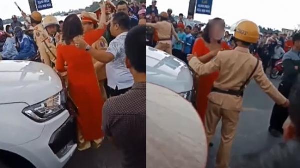 Đoàn xe rước dâu đốt ph áo bị chặn đường, mẹ chú rể bật lại CSGT Hải Phòng