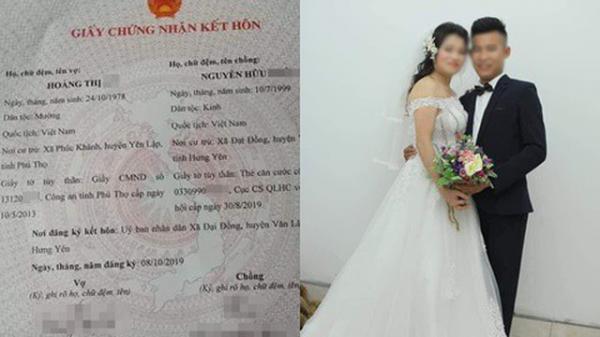 Xôn xao hình ảnh tờ giấy chứng nhận kết hôn của cô dâu 42 và chú rể 20 tuổi