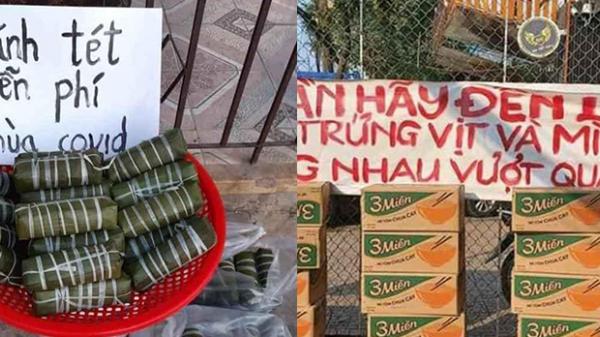 Sài Gòn mùa dịch: Ấm lòng thấy mì tôm, bánh tét, trứng vịt miễn phí trên khắp các nẻo đường