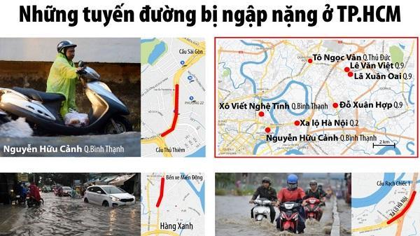Những tuyến đường bị ngập nặng ở TP. HCM
