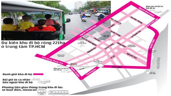 Những tuyến đường bị cấm xe trong Đề án Phố bị bộ trung tâm TP.HCM