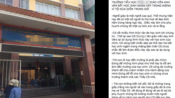 """Xôn xao thông tin giáo viên ở Sài Gòn phạt học sinh lớp 1 """"ngậm dép"""""""