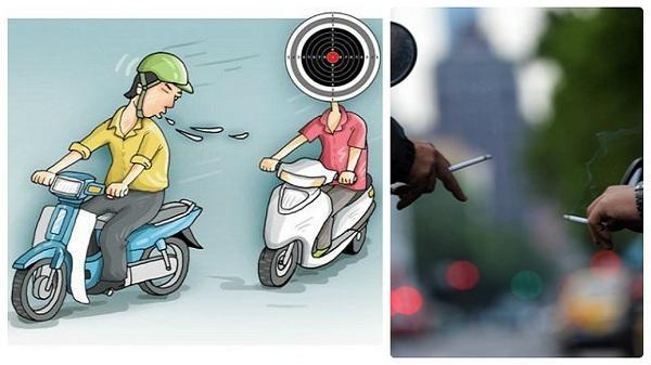 Ngang nhiên khạc nhổ, 'phì phèo' thuốc lá khi tham gia giao thông