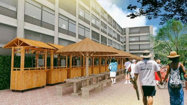 Phối cảnh hai khu phố hàng rong được sử dụng vỉa hè để buôn bán ở trung tâm Sài Gòn