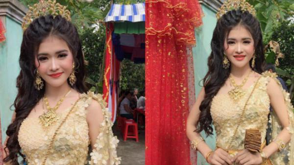 Cô dâu miền Tây trong trang phục Kherme đeo đầy đồ vàng nhưng điểm gây chú ý đặc biệt là nhan sắc