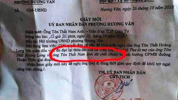 UBND phường mời người chết dự họp giải phóng mặt bằng