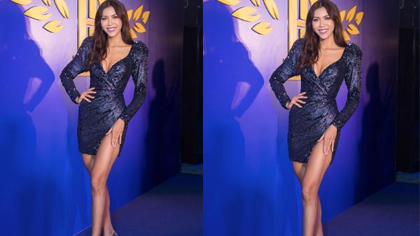 Minh Tú diện váy xẻ sâu táo bạo trước khi lên đường thi Hoa hậu Siêu quốc gia