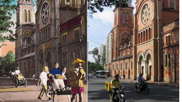 Ảnh hiếm về Nhà thờ Đức Bà Sài Gòn xưa và nay