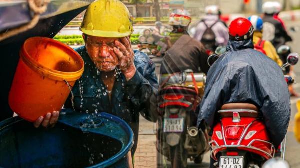 Công nhân vật lộn với cái nóng hầm hập ở Sài Gòn, người đi đường mặc cả áo mưa tránh nắng