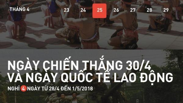 HOT: Lịch nghỉ lễ 30/4, 1/5 và giỗ Tổ Hùng Vương năm 2018