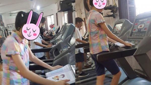 Hình ảnh nữ gym thủ vừa tập luyện vừa đọc sách được share dữ dội trên MXH như một tấm gương lớn về học tập