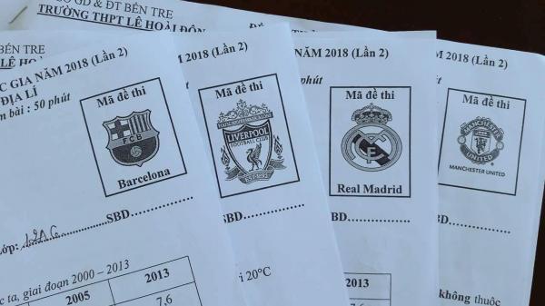Đáng yêu như thầy giáo ở miền Tây, mê bóng đá đến nỗi làm mã đề thi là logo và tên các đội bóng