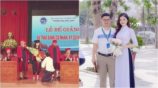 Nghệ An: Nữ sinh viên bất ngờ được thầy giáo quỳ gối cầu hôn trong lễ trao bằng tốt nghiệp