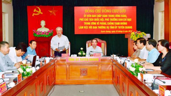 Tuyên Quang: Đoàn công tác của Ban Chỉ đạo Trung ương về phòng,chống tham nhũng làm việc với Ban Thường vụ Tỉnh ủy