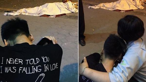 Hình ảnh đau xót: Con trai gục khóc bên t.hi t.hể mẹ vụ ô tô tông liên hoàn