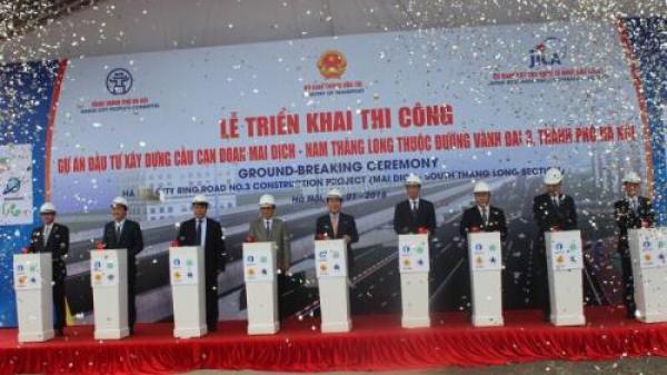 Khởi công xây cầu cạn vành đai 3 Hà Nội đoạn Mai Dịch-cầu Thăng Long