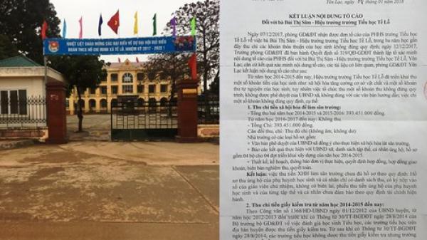 Vĩnh Phúc: Làm rõ những sai phạm của Hiệu trưởng Trường tiểu học Tề Lỗ
