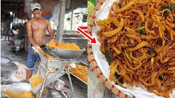 Cận cảnh quá trình sản xuất món khô gà lá chanh khiến nhiều người phát ớn