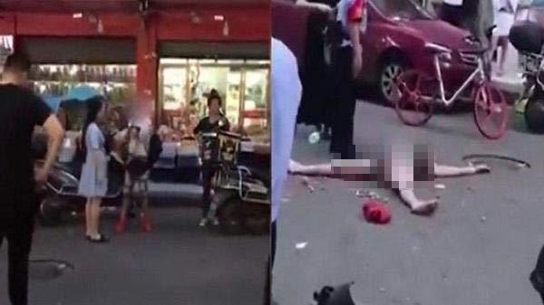 Bị bắt quả tang ăn trộm, 'nữ đạo chích' chơi chiêu lột quần áo nằm ăn vạ giữa đường