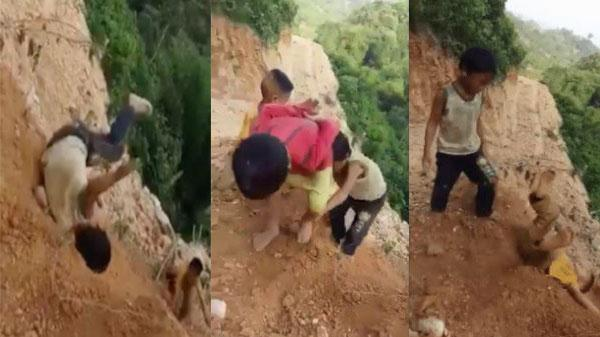 Clip trẻ em vùng cao Hà Giang chơi cầu trượt trên vách núi dốc đứng khiến người xem không khỏi lạnh gáy