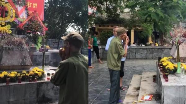 Xúc động trước hình ảnh cụ ông vượt hàng trăm cây số thổi kèn cho đồng đội đã mất tại nghĩa trang Thổ Tang (Vĩnh Phúc)