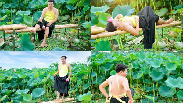 'Cười ra nước mắt' với chàng trai Vĩnh Phúc mặc yếm chụp ảnh bên hồ sen