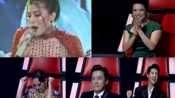 Bộ tứ giám khảo dành hết những biểu cảm đặc biệt cho hot girl Vĩnh Phúc trong vòng trình diễn The Voice 2018