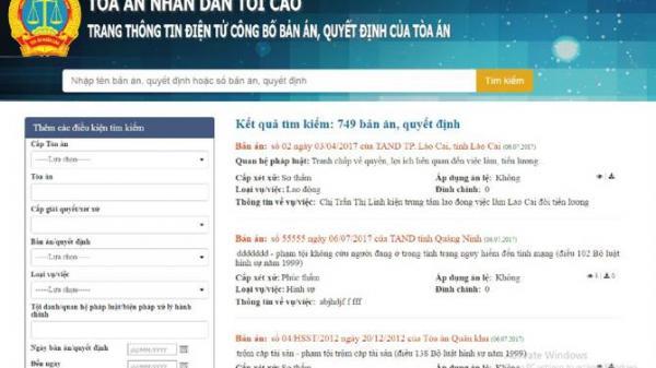 Vĩnh Phúc: Công khai hơn 400 bản án, quyết định lên cổng thông tin điện tử