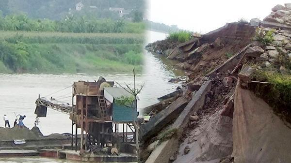 """Vĩnh Phúc: Sạt lở bờ sông Lô, lộ """"vùng thuốc phiện"""" dưới lòng sông"""