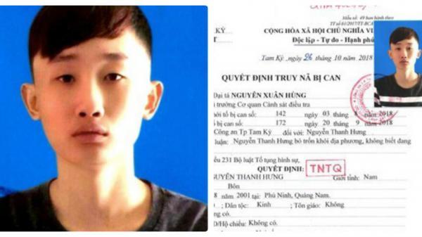 Quảng Nam: Truy nã đối tượng 17 tuổi bị khởi tố 2 tội danh