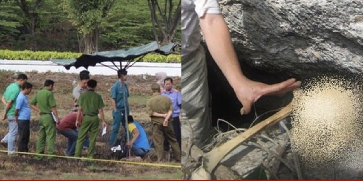 Dọn cỏ chuẩn bị bắn pháo hoa Tết 2019, công nhân tá hỏa phát hiện bộ xương người