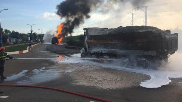 Bà Rịa-Vũng Tàu: Xe tải và xe bồn bốc cháy dữ dội sau va chạm, ít nhất 2 người tử vong