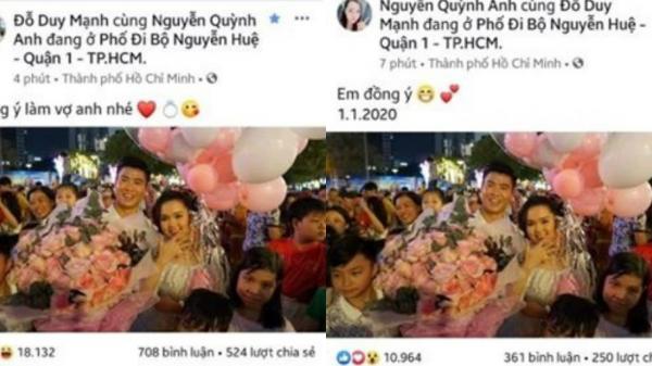 Duy Mạnh quỳ gối, cầu hôn bạn gái Quỳnh Anh ngay ngày đầu năm mới