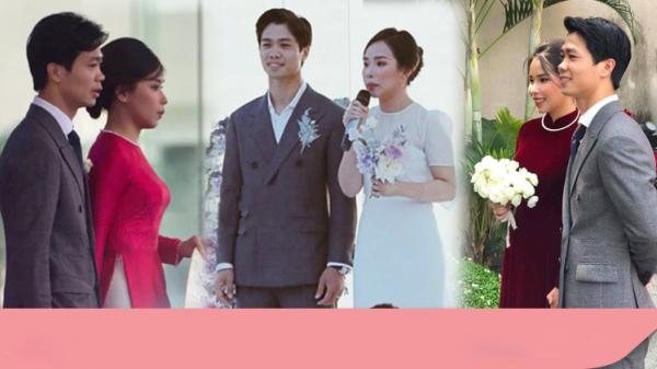 Cô dâu liên tục đổi trang phục, Công Phượng vẫn trung thành với 1 bộ vest diện từ Phú Quốc về Nghệ An