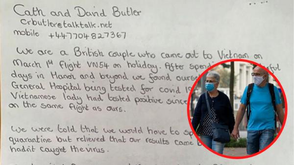 Vợ chồng du khách Anh viết thư tay cảm ơn đội ngũ y tế sau 14 ngày cách ly: 'Điều kiện tốt như khách sạn 5 sao'
