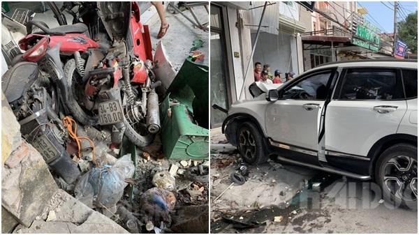 Tứ Kỳ: Ô tô Honda CRV lao lên vỉa hè hạ gục hàng loạt xe máy