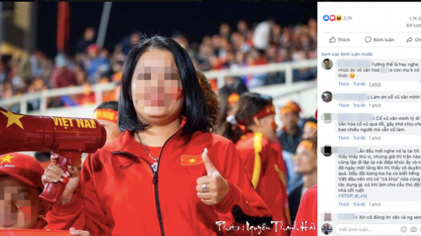 """Hô khẩu hiệu: """"Bay lên trời là em bay ra ngoài"""", nữ CĐV bị dân mạng tấn công tài khoản Facebook"""