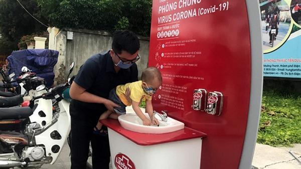 Lắp đặt Trạm rửa tay dã chiến tại Sân hành lễ Tượng đài Chiến thắng Điện Biên Phủ